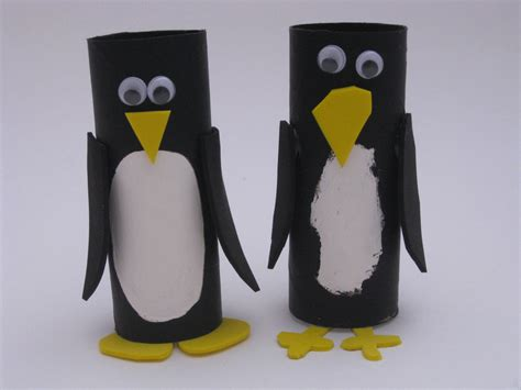 penguin toilet paper roll craft cardboard penguins family crafts