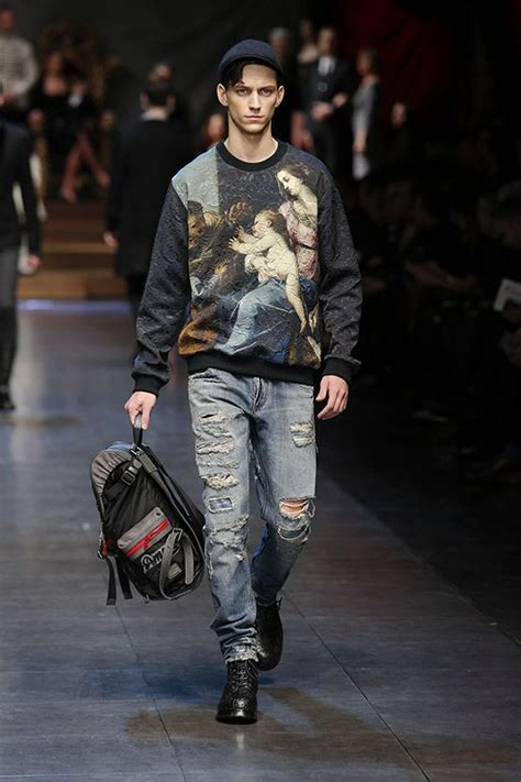 the painting fashion show renaissance painting print sweater worn with tattered