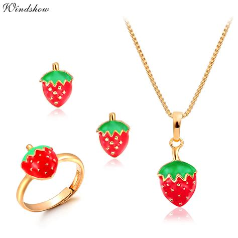 jewelry for children 18k gold filled strawberry earrings ring pendant
