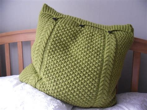 how to knit a bobble button large lime green pillow cushion cover knitted cable