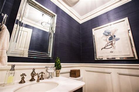 Navy Blue Dining Room navy blue grasscloth in contemporary bathroom