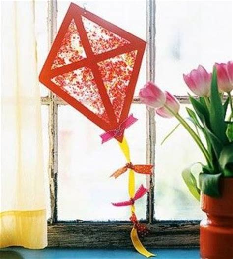 kite crafts for make this kite sun catcher with crayons and wax paper