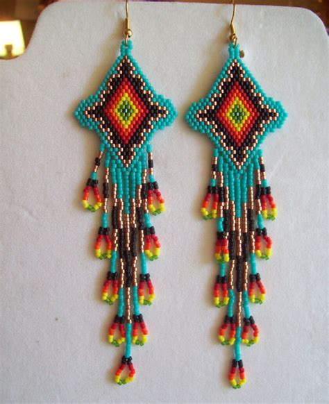 how to bead american style american style beaded turquoise firey sunburst earrings