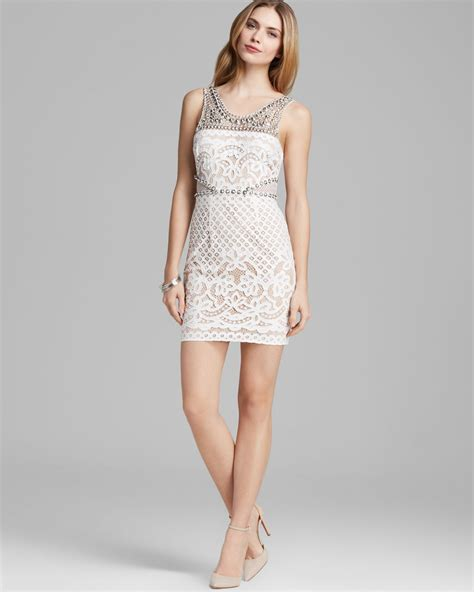 beaded white dress tracy reese dress beaded lace cutout shift in white lyst