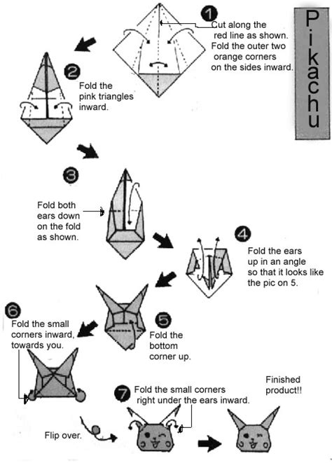 how to make an origami pikachu step by step patterns