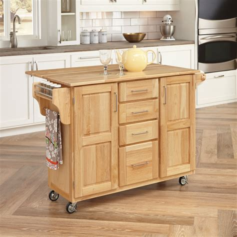 kitchen island cart with breakfast bar home styles 36 quot h x 52 1 2 quot w x 18 quot d wood kitchen cart with wood drop leaf breakfast bar