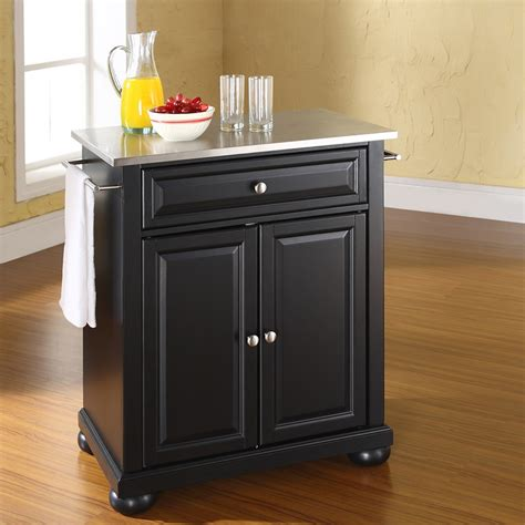 black kitchen island with stainless steel top alexandria stainless steel top portable kitchen island black dcg stores