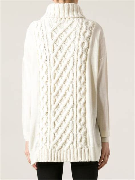 white cable knit cardigan coast weber ahaus cable knit sweater in white lyst