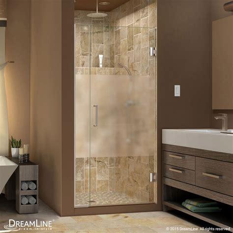 shower doors unidoor plus half frosted glass shower door