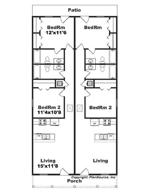 duplex plans for narrow lots narrow lot duplex j1690 15d