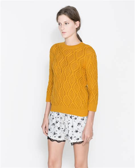 zara knitted sweater zara cable knit sweater in yellow lyst
