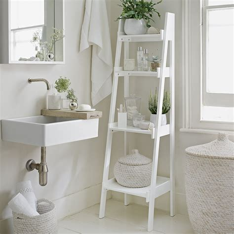 white bathroom shelves bathroom ladder shelf white goodglance