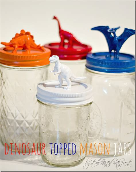 acrylic paint jar lids dinosaur topped jars