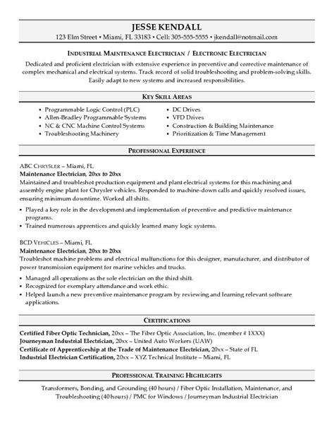 example maintenance electrician resume sample