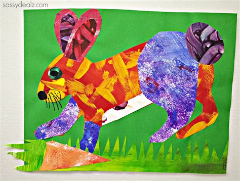 rabbit craft projects eric carle painting style rabbit craft for crafty