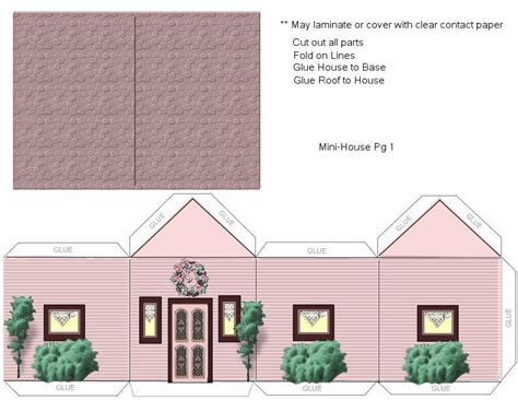 Paper Crafts Home Model Pink House Landscaping Ammey