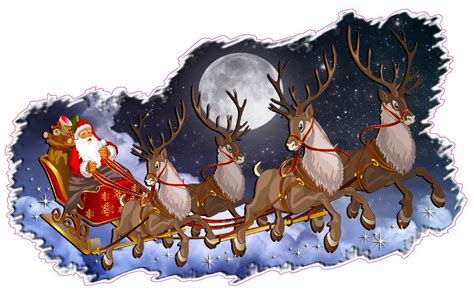 santa and reindeer sleigh and wall d 233 cor decal santa claus with