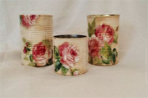 can you decoupage on metal decoupage tin cans shabby chic roses upcycled recycled
