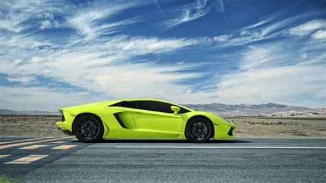 Car Wallpaper Green by Lamborghini Aventador Green Supercar Side View Wallpaper