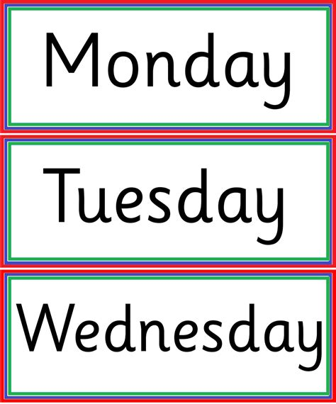 kindergarten worksheets days of week flashcard