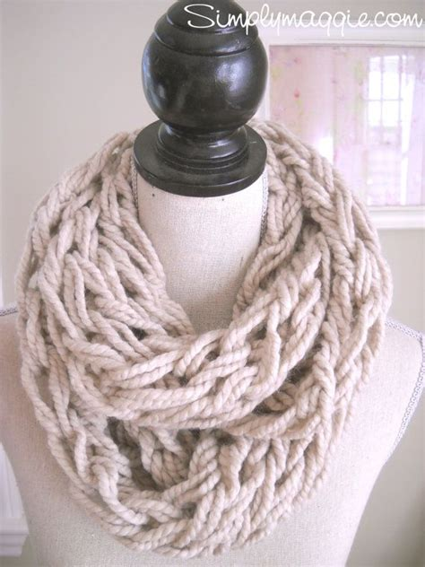 arm knitting scarf taupe arm knit infinity scarf to make