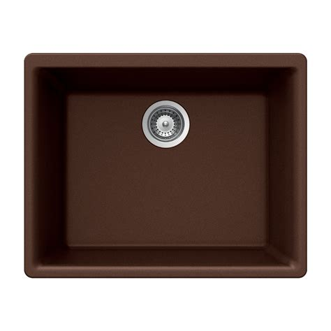 undermount kitchen sinks at lowes shop houzer 18 in x 24 in copper single basin granite