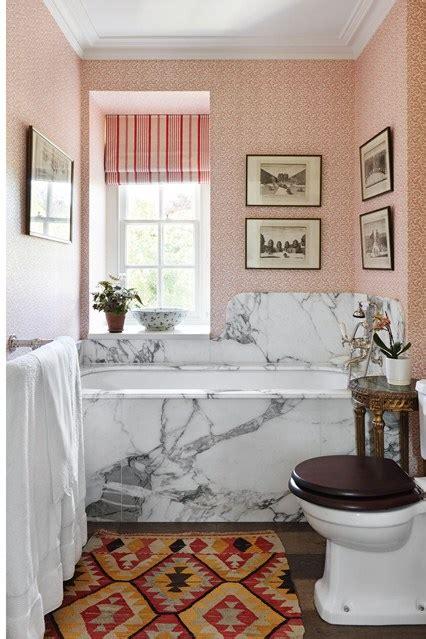 small marble bathroom ideas marble bath surround pink wallpaper small bathroom
