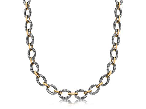chain jewelry alternate oval cable and polished chain link necklace in