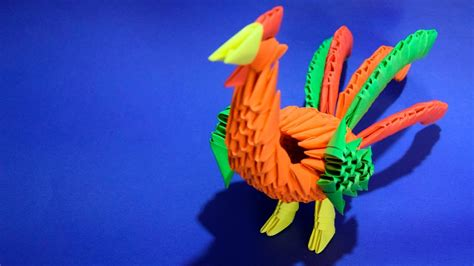 3d origami rooster 3d origami rooster bird of paper tutorial