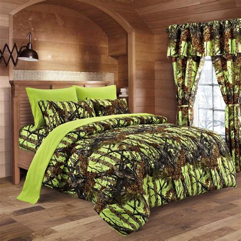 lime green bed set lime camo bed in a bag set the sw company