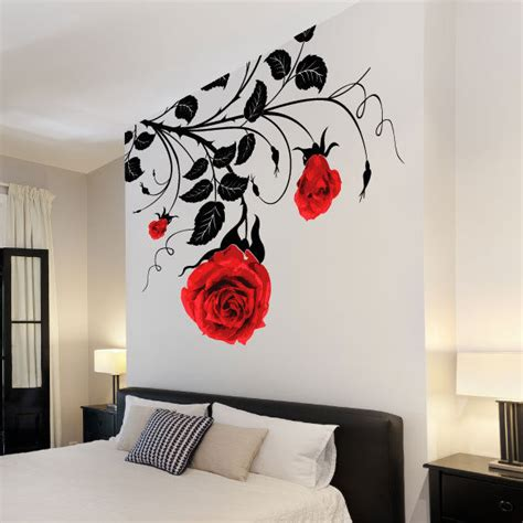 flower stickers for walls large flower roses vines vinyl wall stickers wall