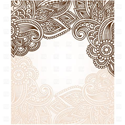 mehndi style brown ornament elements vector clipart image