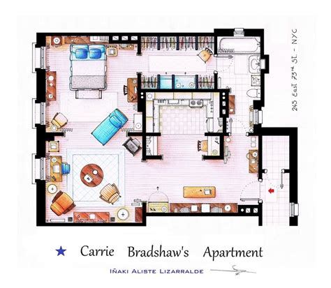 and the city apartment floor plan floor plans of homes from tv shows