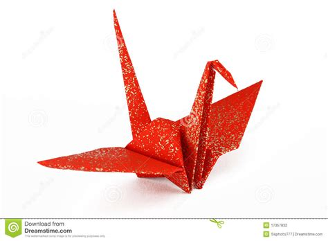 crane bird origami and gold origami crane bird stock photography image