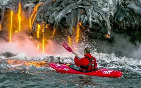 kayaking by an active volcano lazer horse