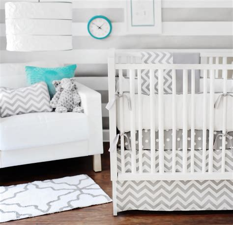 gray and white crib bedding sets chevron bedding in the nursery or toddler room