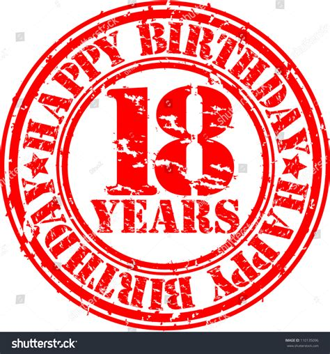 happy birthday rubber st grunge 18 years happy birthday rubber stock vector