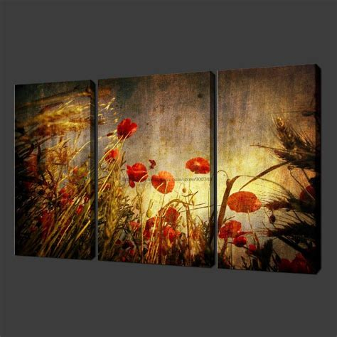 acrylic paint set for canvas aliexpress buy grunge poppies set of three quality