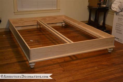 diy platform bed frame diy stained wood raised platform bed frame part 1