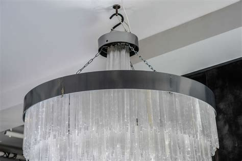 selenite chandelier one of a metal and selenite chandelier for sale at