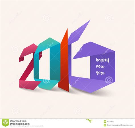 new origami happy new year 2016 origami colorful stock illustration