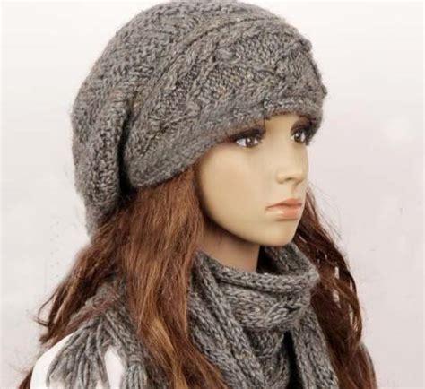 knitted scarf hat wool slouchy handmade knitting hat and scarf set