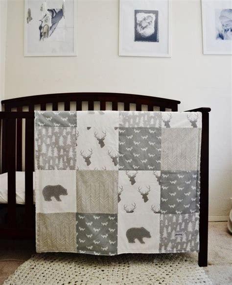 woodland nursery bedding set crib sheet gray and white tree print