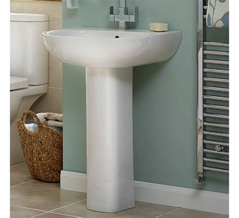 pedestal only for basin essential lily pedestal basin only 550mm wide 1 tap hole