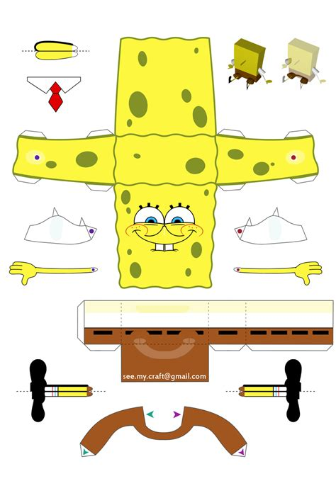 paper craft spongebob papercraft by kamibox on deviantart
