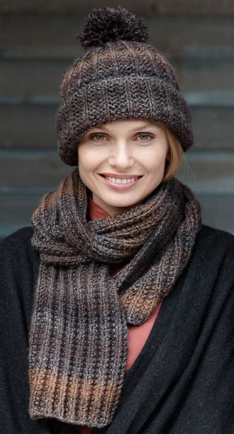 how to bind knitting a scarf rustic ribbed hat and scarf in brand tweed stripes