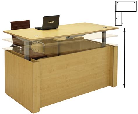 adjustable height office desk adjustable height u shaped executive office desk w hutch