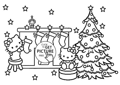 christmas hello kitty coloring pages for kids printable