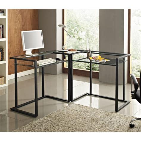 metal and glass computer desks glass and metal c frame corner computer desk black