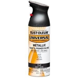 home depot spray paint and primer rust oleum universal 11 oz all surface flat metallic soft